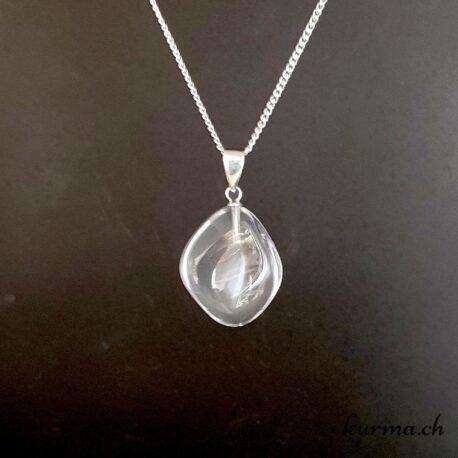Quartz cristal de roche collier en argent