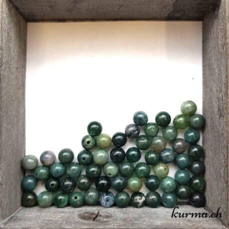 Perles agate mousse naturelle