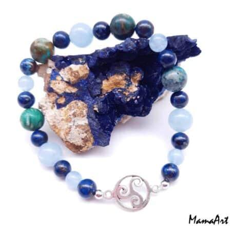 Bracelet artisanal Azurite, Aigue-marine et Chrysocolle avec un triskèle