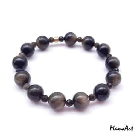 Bracelets personalisés en pierres semi-précieuses d'obsidienne dorée