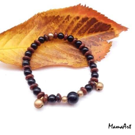 Bracelet avec grelot et obsidienne acajou