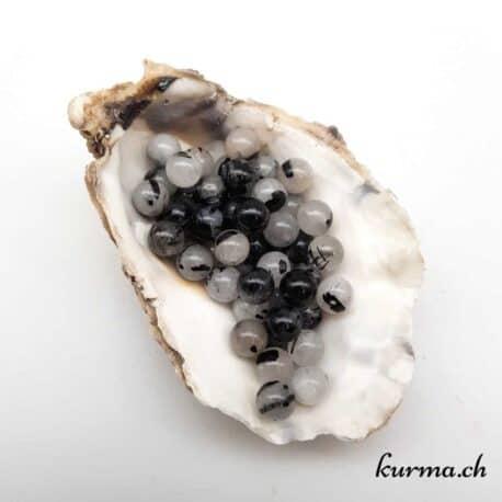 Perles quartz tourmaline 8mm