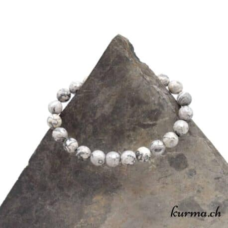 Bracelet Agate Crazy Lace grise facettes