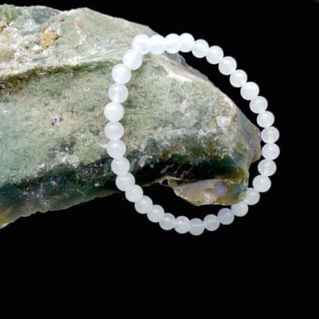 Bracelet jade blanche 6mm