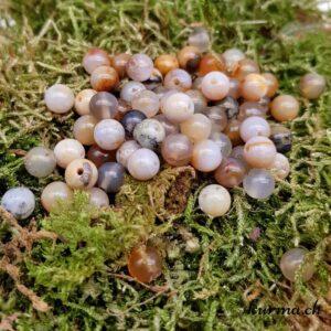 perles agate dendritique grise orange 6mm