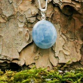 Calcite bleue collier en argent