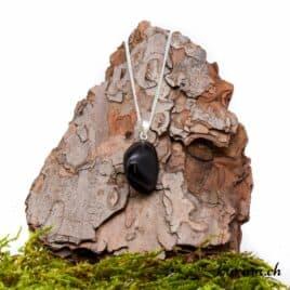 Obsidienne larme d'Apache collier en argent