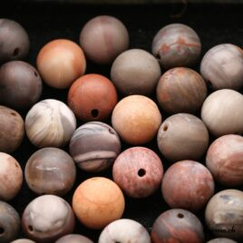 Perles Bois pétrifié mate 12mm