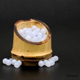 Perles Calcédoine bleue mate 6mm