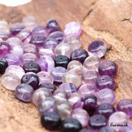 Perles Fluorite violette rondelle 10mm