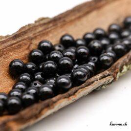 Perles Tourmaline noire avec inclusion de Quartz 6mm