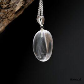 Cristal de roche en pendentif avec boucle en argent
