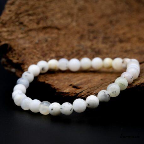Bracelet Agate dendritique blanche 6mm