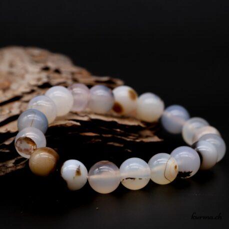 Bracelet Agate dendritique grise 10mm