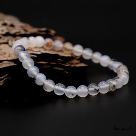 Bracelet Agate dendritique grise 6mm