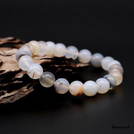Bracelet Agate dendritique grise 8mm
