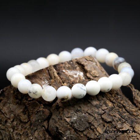 Bracelet Agate dendritique blanche 8mm
