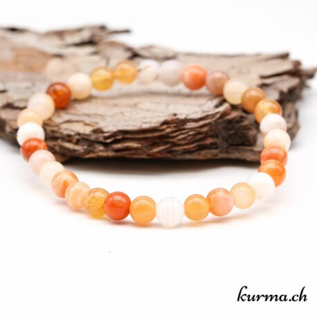 Bracelet Agate abricot 6mm