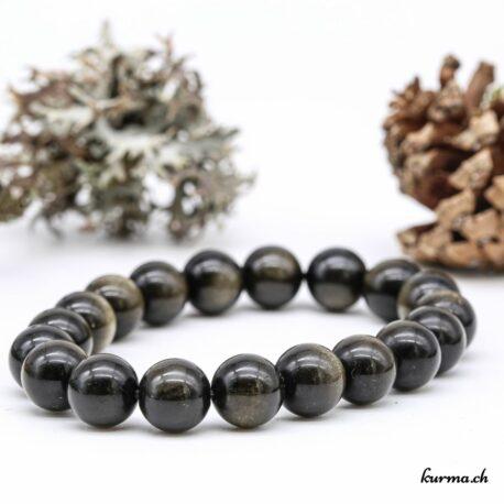 Bracelet en Obsidienne dorée