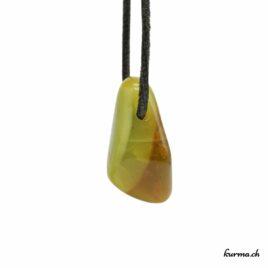 Opale verte Kiwi pendentif pierre percée
