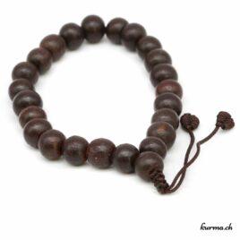 Bracelet en bois brun foncé avec une ficelle 10mm