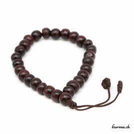 Bracelet en bois brun foncé avec une ficelle 8mm