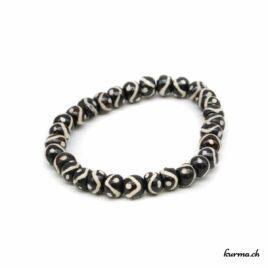 Bracelet en os ''Lignes blanches et noires''