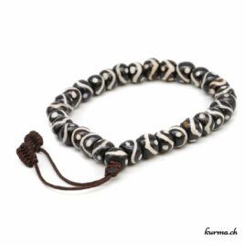 Bracelet en os ''Lignes blanches et noires'' avec une ficelle 8mm