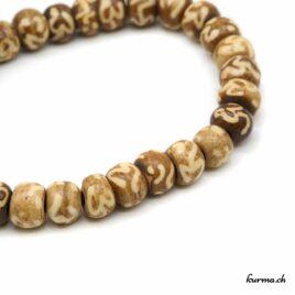 Bracelet en os ''Om blanc'' avec une ficelle 8mm