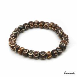 Bracelet en os brun ''Round gravé'' 8mm