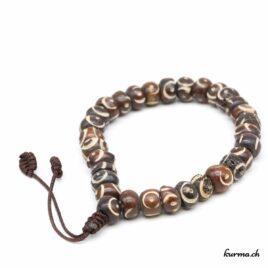 Bracelet en os ''Round gravé brun'' avec une ficelle 8mm