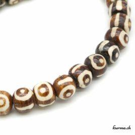 Bracelet en os ''Yeux bruns'' 8mm