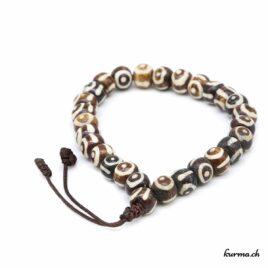 Bracelet en os ''Yeux bruns'' avec une ficelle 8mm