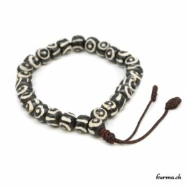 Bracelet en os '' Yeux noirs'' avec une ficelle 8mm
