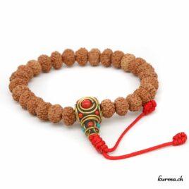 Bracelet en rudraksha à 8 faces avec une ficelle 9mm