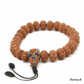 Bracelet en rudraksha à 7 faces avec une ficelle 12mm