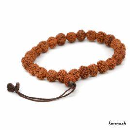 Bracelet en Rudraksha orange avec une ficelle 7mm