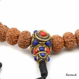 Bracelet en rudraksha à 9 faces avec une ficelle 10mm