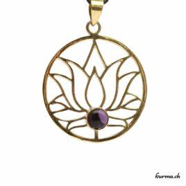 Fleur de lotus et Améthyste – Pendentif en Laiton – N°6813