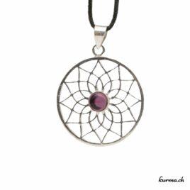 Lotus Améthyste – Pendentif en Laiton Argentée – N°6747